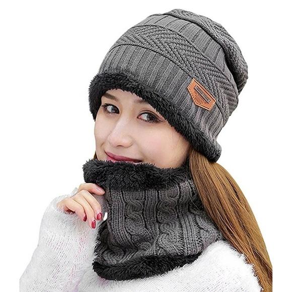 Unisex Winter Beanie Hat with Neck Warmer cdb41dcdf8c0